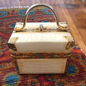 Comeco 1970s White Croc Hardcase Box Bag